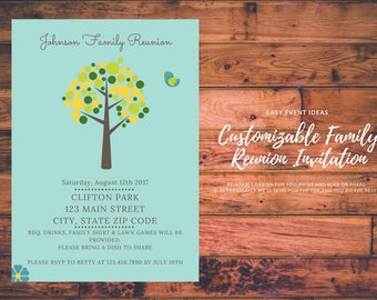 Personalized and Customizable Family Reunion Invitation, Announcement, Save the Date