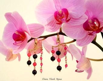 Modern earrings, black onyx and pink jade