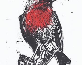 Robin 2 Colour Lino Print