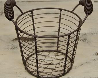 Wire Egg Basket Small Rustic Farm  Organize Primitive Gathering Shelf Sitter Americana