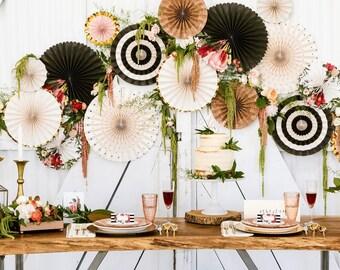 High Quality Garden Party Fan Decor Kit/ Deluxe Set Black And White Fan Decor/ Fancy  Organic