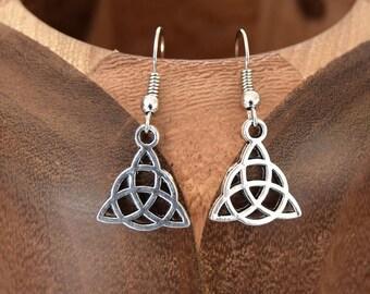Antique silver TRIQUETRA, TRIQUETRA silver antique clip earrings
