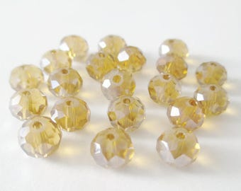 20 rondelle beads Brown faceted clear iridescent glass 6x8mm