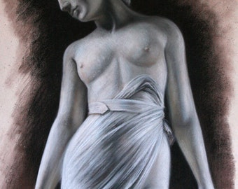 Original Pastel Study - Marbled Woman