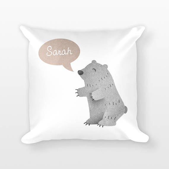 Personalized Pillow, Grizzly Bear Pillow, Custom Name Pillow, Birthday Gift for Friend, Kids Room Decor, Decorative Animal Throw Pillow