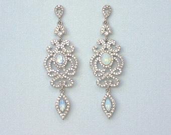 Opal Chandelier Earrings, Crystal Bridal Earrings, Long Crystal Earrings, Crystal Statement Earrings, Wedding Jewelry,