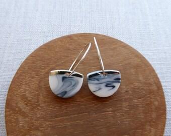 White Gold Lined Half Moon Hoop Earrings in Black Marble