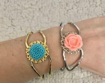 Flower Medallion Hinge Bracelets