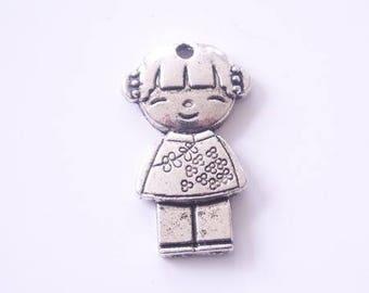 Antique silver kokeshi doll charm