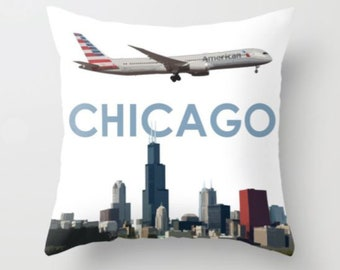 American Airlines Boeing 787 over Chicago Art - Throw Pillow