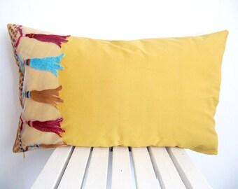 Tassel Corleto Pillow Case/Mustard Pillow Cover/Cushion Cover/Mustard Lumbar Pillow/Decorative Pillow/Mustard Accent Pillow/Sofa Pillow
