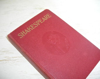 The Complete Works of William Shakespeare 1911 - vintage book of classic plays - red embossed hardback cover - shabby cottage chic