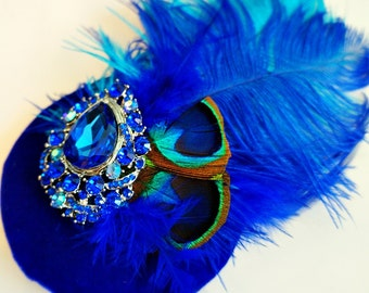 Blue Velvet Saphire Jeweled Peacock Fascinator