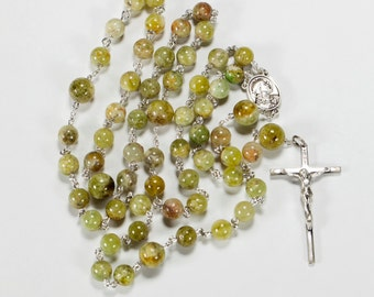 Green Garnet Men's Rosary - Handmade with Green Garnet Stones and Sterling Silver - Heirloom Catholic 5 Decade Rosaries, Custom Gift for Dad