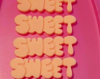 4 SWEET Cabochon Pastel Flatback Flat Back Resin Kawaii to Glue for Phone DIY Custom Pink Peach 42mm