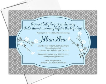 baby shower invitation printable for boys - baby blue and gray baby shower invite cherry blossoms - asian style - WLP00749