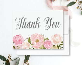 Floral Thank You Card Blush Floral Thank You Card Floral Wedding Thank You Folded Thank You Card Floral Folded Thank You Card #CL114