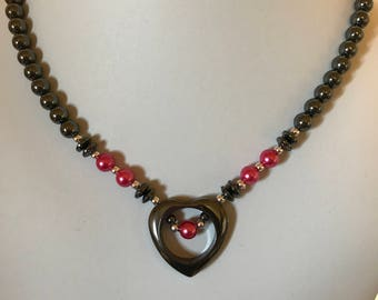 Handmade Hematite Open Heart Necklace with Hot Pink Accents