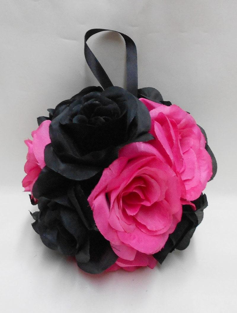 Wedding Reception Black Hot Pink Kissing Ball Pomander Pew