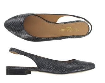 Black pointy leather flats, Python leather slingback flat, python leather shoe, Handmade in Italy, Women leather pointy flat, Fred