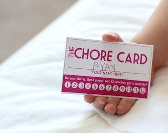 INSTANT DOWNLOAD: DIY Printable Punch Cards - 4 colors, chore cards, stay in bed cards