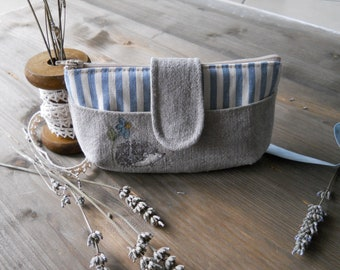 Linen clutch with hand painted hedgehog