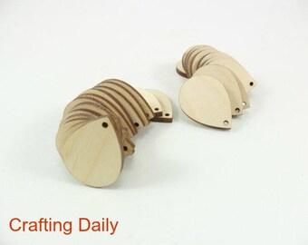 """Wood Earring Teardrop Dangle Shapes 1 3/16"""" x 3/4"""" x 1/8"""" Laser Cut Wood Jewelry Making - 25 Pieces"""