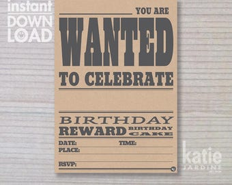 instant invitation -  boys invitation - wanted invitation - childrens invitation  - downloadable invite - brown paper invite