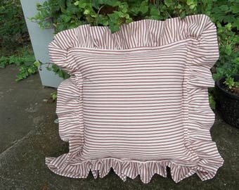 Ruffled Ticking Pillows Custom Sizes Custom Colors Ruffled Pillow Shams TIcking Pillow Covers French Country Farmhouse
