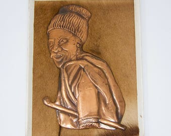 """Extraordinary Hammered Copper Plaque on Antelope Fur """"Xhosa Farmer"""""""