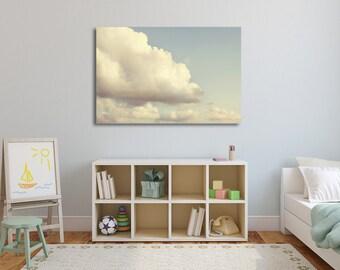 Cloud Nursery Art, Nursery Decor, Cloud Wall Decor, Children's Art, Canvas Art, Playroom Decor, Blue Sky, Cloud Photos, Home Decor