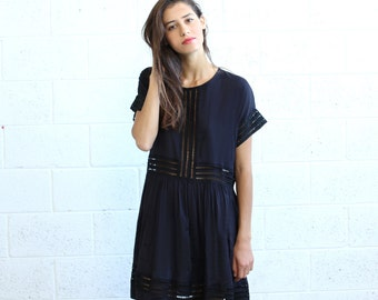 Eyelet Trim Party Dress , Black Midi dress.