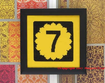 Kansas Cross Stitch Pattern - Sunflower State Highway Road Sign PDF