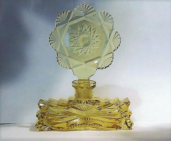 Art Deco Czech Perfume Bottle / Cut Yellow Crystal Glass