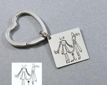 Artwork Keyring, Christmas gift for Him, Child's Artwork Keychain, Actual Artwork into keyring, daddy gift, kids art into keyring