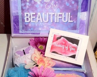 DELUXE Custom You Are Beautiful box.Care Package. Thinking of You. Get Well Gift. Housewarming. Happy Mail. Makeup Box.