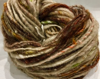 TWEED Chunky hand spun art yarn 84 metre 91 yards single ply correspun Weave Knit or Crochet 65g