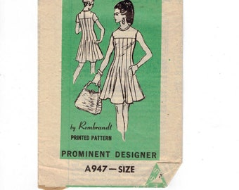 1960s Vintage Sewing Pattern Mail Order A947 Prominent Designer Rembrandt Flared Yoked Cocktail Dress Misses Size 12 Bust 34 60s  99