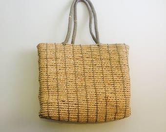 Vintage Wicker Tote Beach Bag Handbag Purse Large