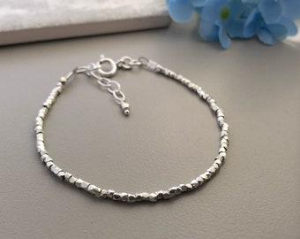Faceted Silver Bracelet, Stacking Bracelet, thin silver bracelet, karen hill tribe silver, dainty silver bracelet