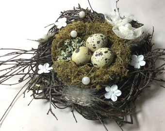 Easter nest made of natural branches