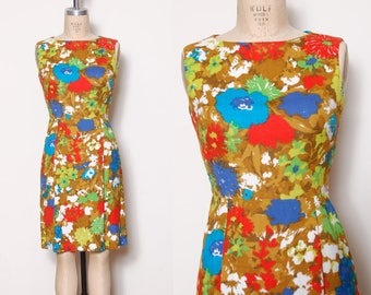 Vintage 50s bright floral day dress /  watercolor floral dress / sleeveless sundress / printed 50s dress