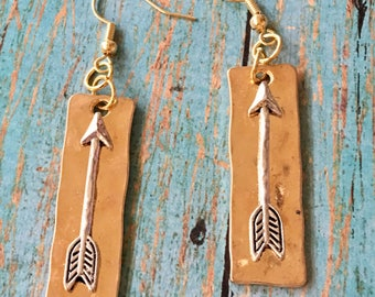ARROW Gold Earrings Silver Arrow on Light Gold Dangle Bar