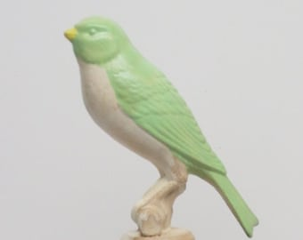 Wine Stopper Lime Green  / White Canary Bird Hand Painted Upcycled Repurposed Trophy Top