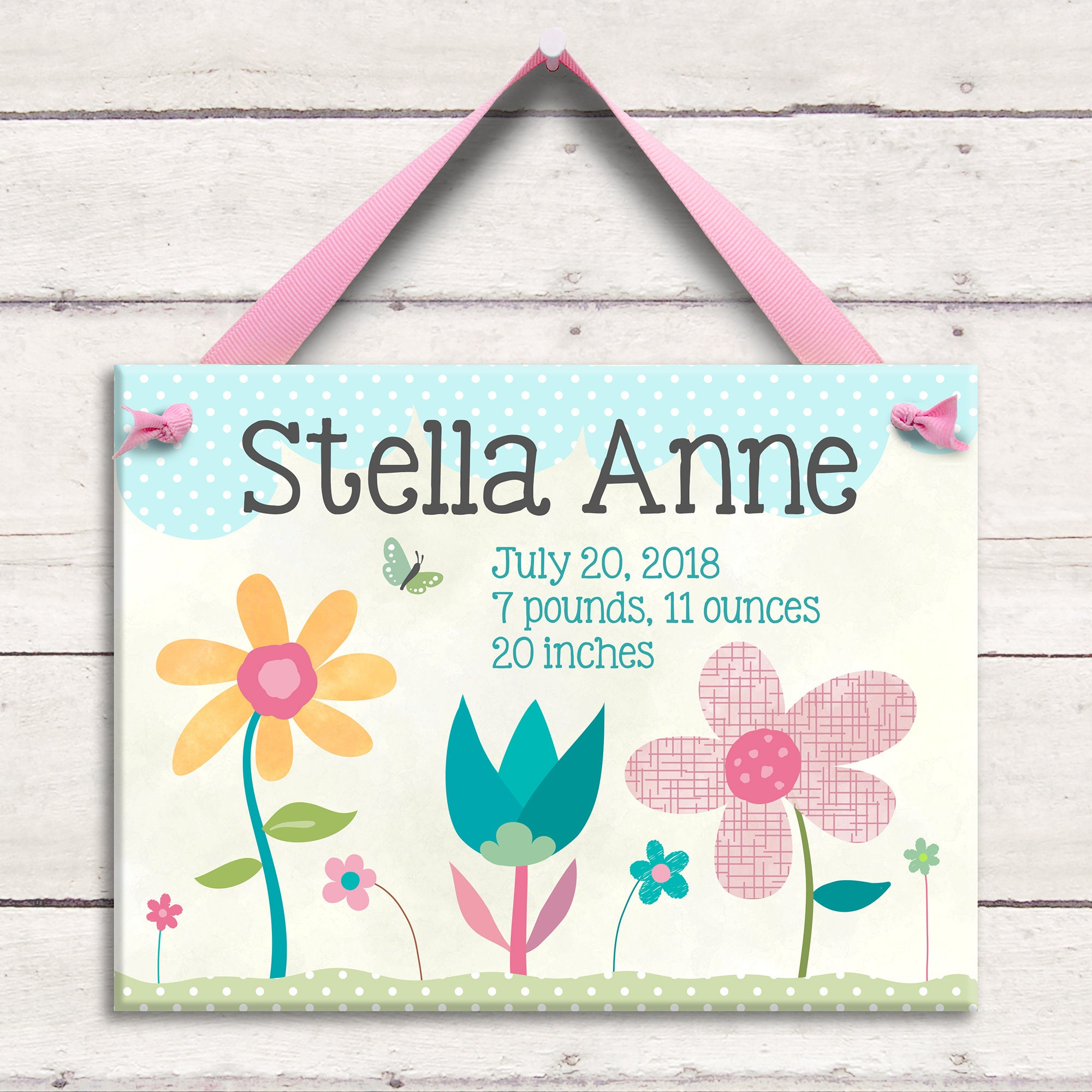 Unique baby gift baby gift baby girl gift pink flowers unique baby gift baby gift baby girl gift pink flowers personalized baby nursery art ceramic wall art negle Choice Image