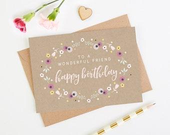 Friend Birthday Card Pretty Kraft Floral