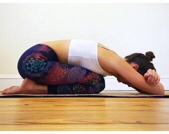 Sri Yantra Sacred Geometry Navy/Purple and Rainbow Leggings