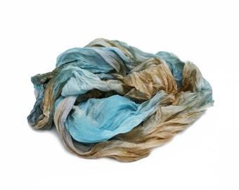 blue silk scarf - Louvre  -   blue, brown silk scarf.
