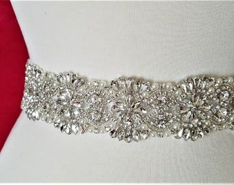 BIG SALE!! Wedding Belt, Bridal Sash Belt - Crystal Pearl Wedding Sash Belt