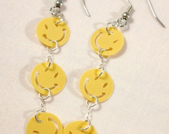 Smiley Face Earrings Yellow Smiley Faces Sterling Silver Chain Dangles Plastic Sequins